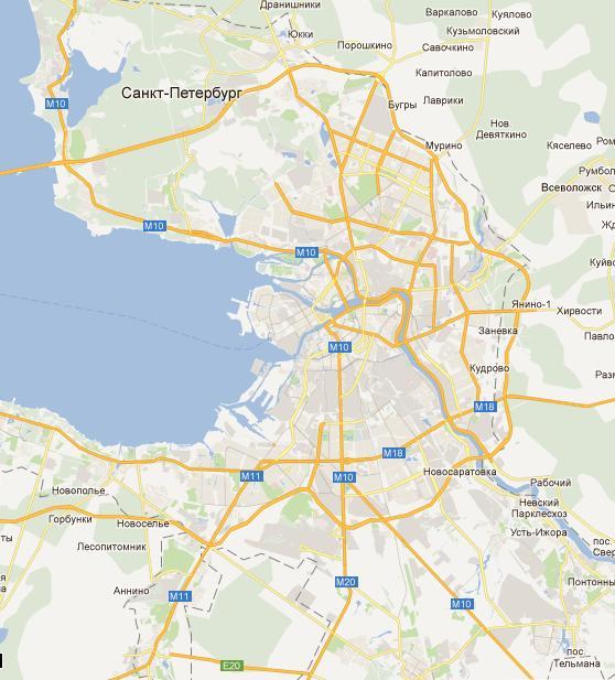 Карта Санкт-Петербурга и ближайшей Ленинградской области
